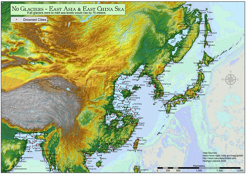 East Asia and East China Sea: If all glaciers were to melt sea levels would rise by 70 meters