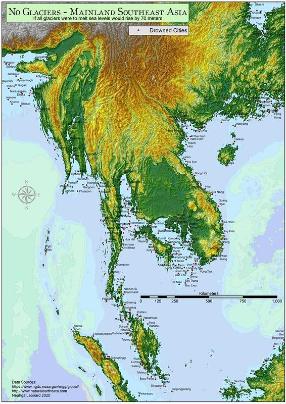 Mainland Southes Asia - No Glaciers
