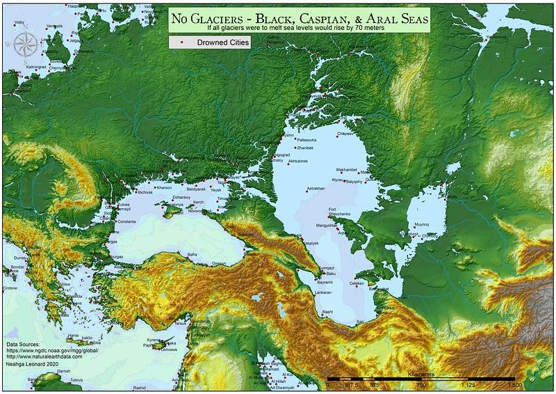 No Glaciers - Black, Caspian, and Aral Seas