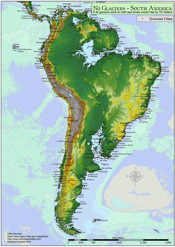 South America: ife all glaciers were to melt sea levels would rise by 70 meters