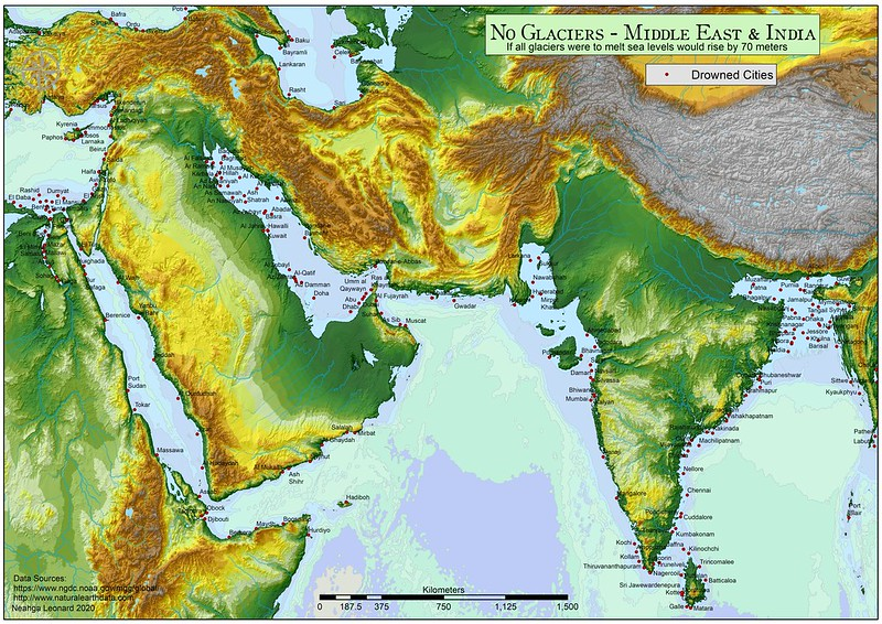 Middle East and India - No Glaciers