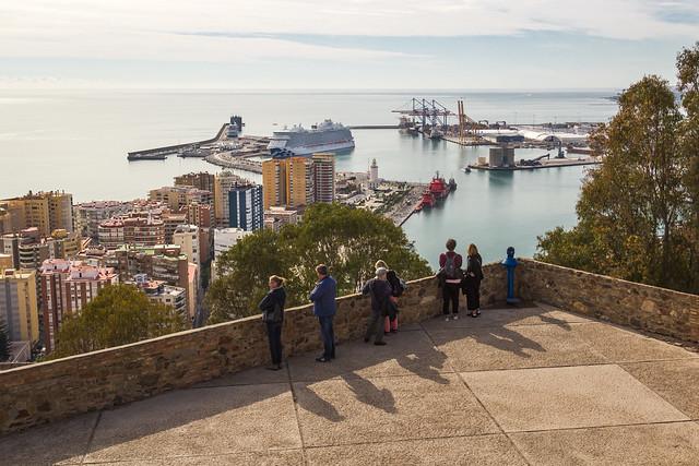 Spain - Malaga - Harbor views from Gibralfaro