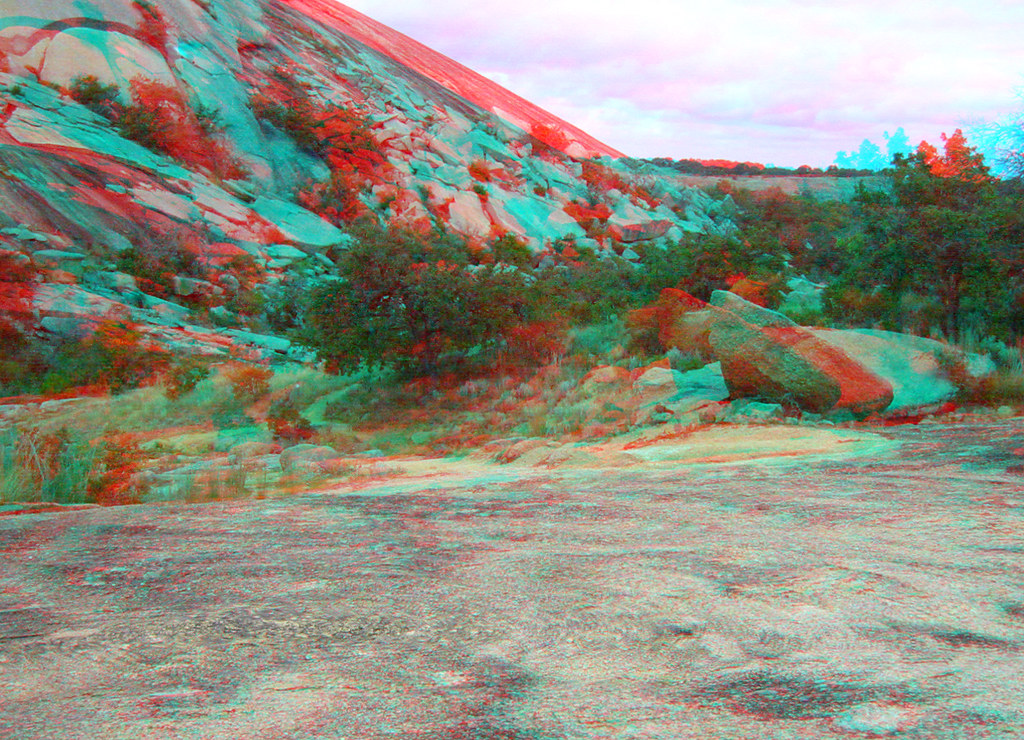 ENCHANTED ROCK TEXAS NORTH SIDE OF LITTLE ROCK 3D RED CYAN ANAGYLPH-1