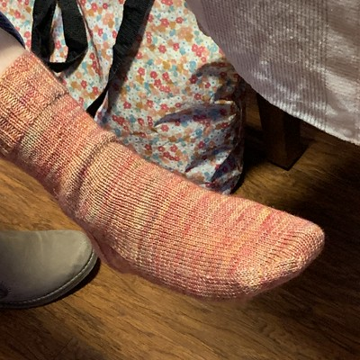 Jocelyne finished her first pair of socks for Learning Magic Loop Sock Class