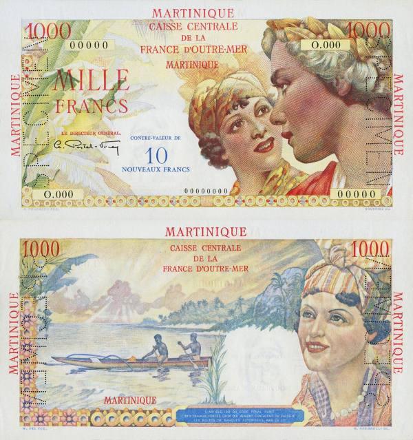 1000 Francs  Martinik 1960 nevydaný Specimen - REPLIKA