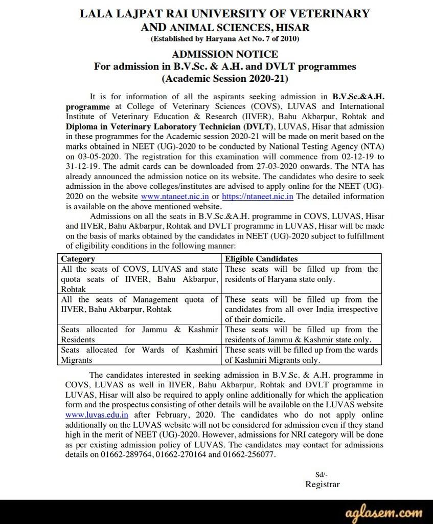 LUVAS Admission Notification 2020