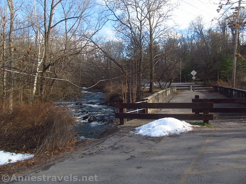 The closed bridge at the trailhead (pedestrians are still allowed) at Channing H. Philbrick Park, New York