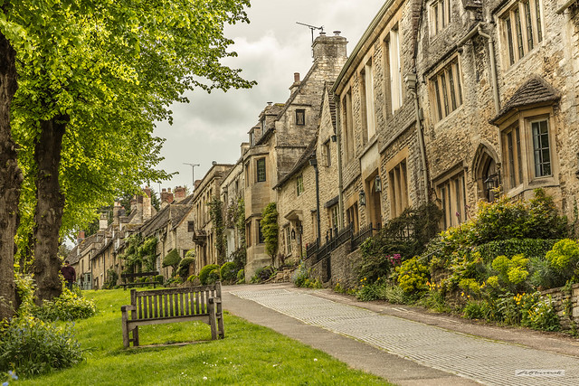 Limestone gold of Cotswold houses in Burford, Oxfordshire.
