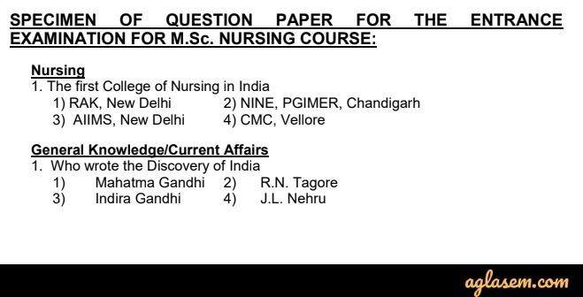 Specimen for PGIMER M.Sc Nursing Question Paper