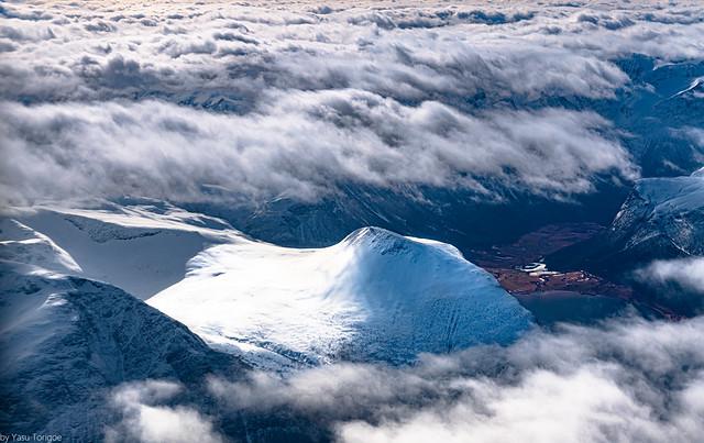 Beautiful mountain peak next to Rauma Voll village seen from the Innfjorden, Norway749