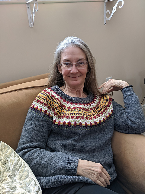 Linda's Trek by tincanknits that she knit for her sister using Bergere de France Ideal! Love it!