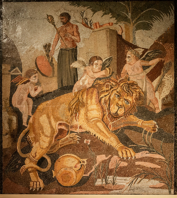 Mosaic with Lion and Cupids
