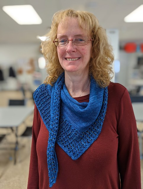 Linda knit her Charmaine by Emily Wood, a beaded shawl using Malabrigo Mechita! Looks and feels fabulous!