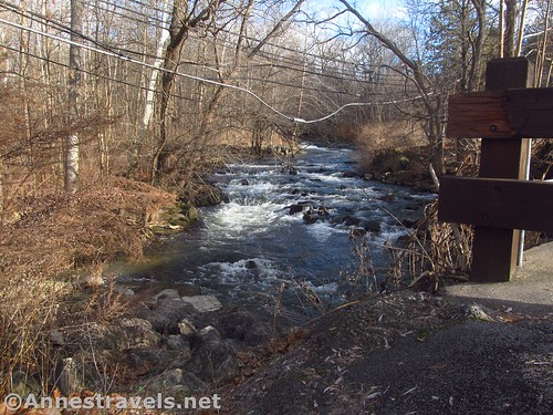 Views of Irondequoit Creek from near the northern trailhead in Channing H. Philbrick Park, New York