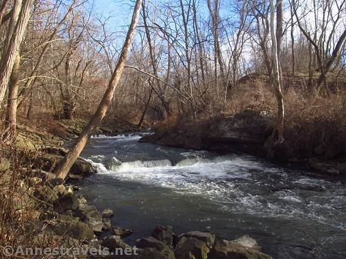 Waterfall over a ledge in Irondequoit Creek, Channing H. Philbrick Park, Penfield, New York