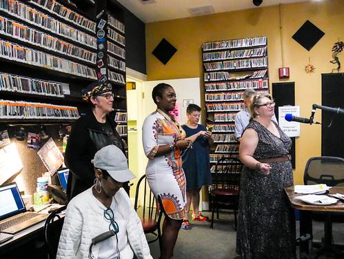 Dee Lindsey, Patty Boehm, KaTrina Griffin, Beth Arroyo Utterback, and Elizabeth Meneray enjoying New Orleans Catahoulas set - March 12, 2020. Photo by Katherine Johnson.