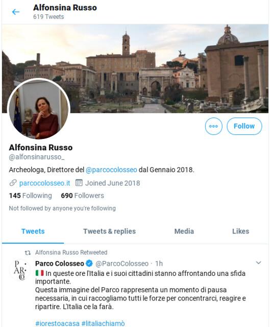 ROMA ARCHEOLOGICA e RESTAURO ARCHITETTURA. Roma - Notizie da Roma: Perché la dott.ssa Alfonsina Russo, direttore del Parco archeologico del Colosseo di Roma, ha cancellato i suoi account Twitter? (13/03/2020).
