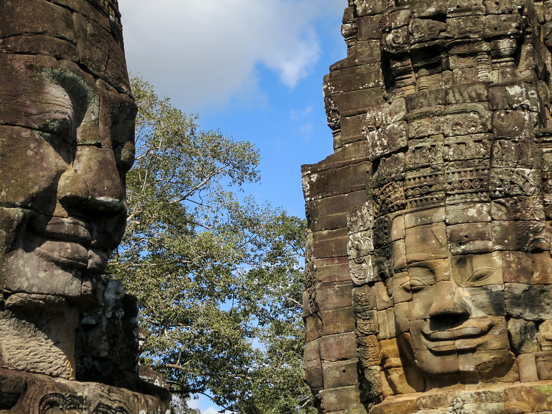 Bayon temple faces still smiling a 1000 years later