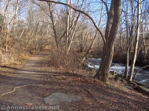 The trail along the creek in Philbrick Park, Penfield, New York