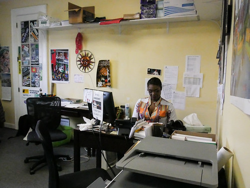 Membership manager KaTrina Griffin at wrok - March 12, 2020. Photo by Katherine Johnson.