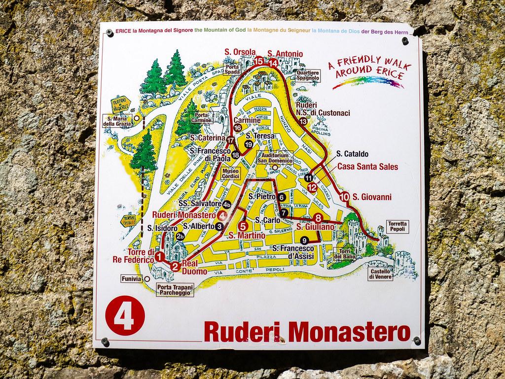 Mapa de Erice en Sicilia