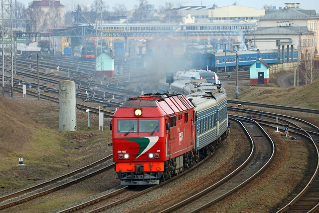 Тепловоз ТЭП70БС-178 на станции Могилёв-1.