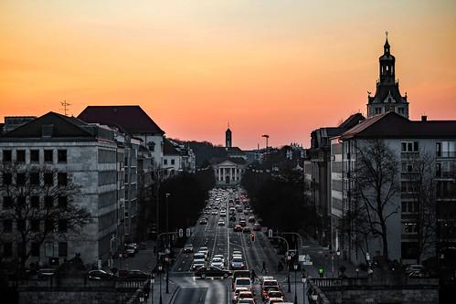 sunset munich cityscape prinzregentenstrase wernerboehm