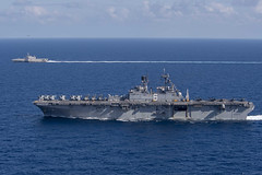 USS America (LHA 6) sails alongside USS Gabrielle Giffords (LCS 10) during operations together in the South China Sea, March 13. (U.S. Navy/MCSN Dylan Lavin)