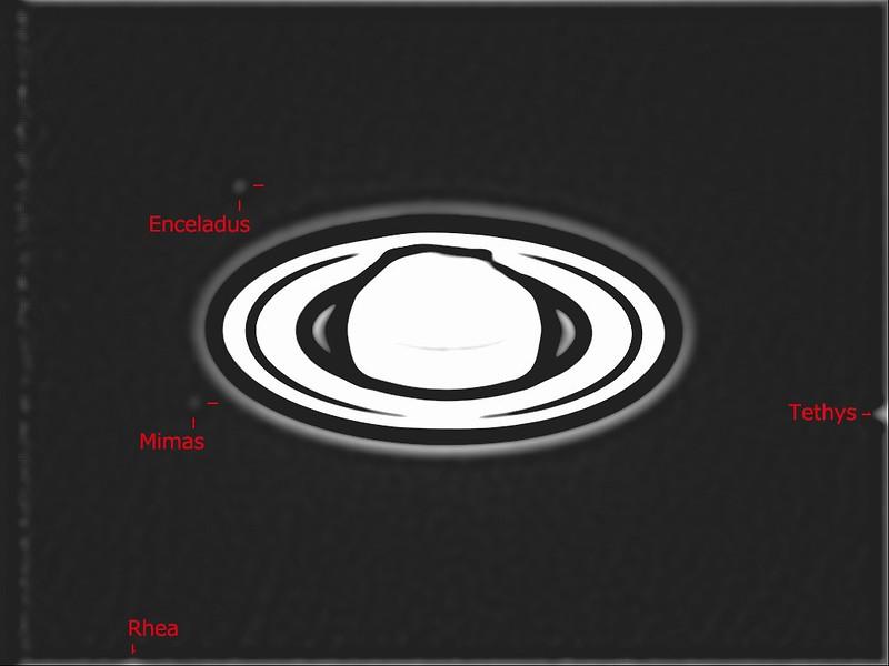 土星、エンケラドス、ミマス、テティス、レア (2018/7/29 20:42)
