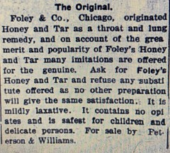 Ad for The Original Foley and Company Honey and Tar Syrup
