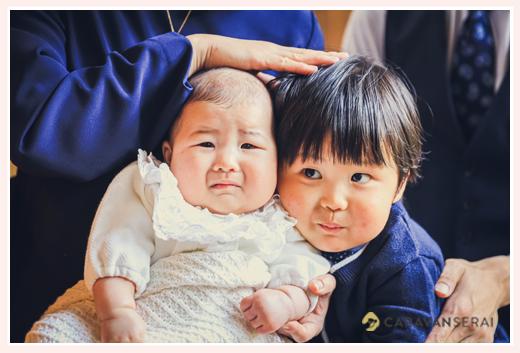 初宮参り・100日祝いの日の兄弟写真
