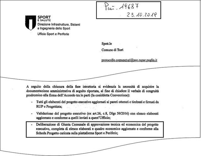 L'estratto della nota dell'Ufficio Sport e salute