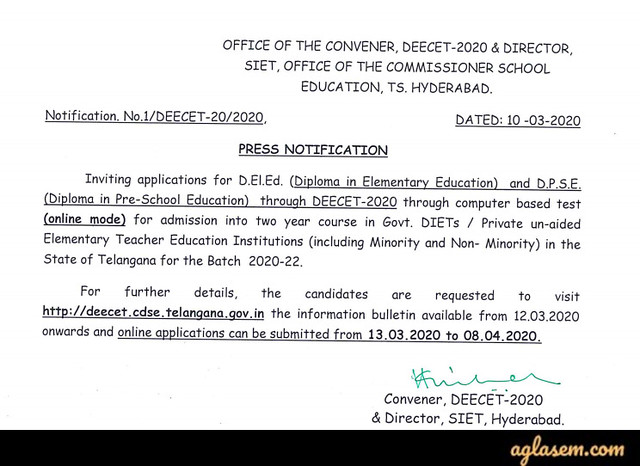 TS DEECET 2020 Web Admission Notification