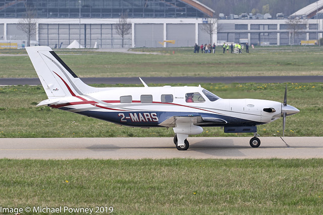 2-MARS - 2001 build Piper PA-46-500TP Malibu Meridian, taxiing for departure on Runway 24 at Friedrichshafen during Aero 2019