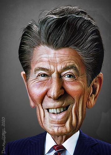 Ronald Reagan - Caricature | by DonkeyHotey