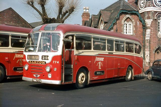 Barton Transport . 774 YNN774 . Huntingdon Street Bus Station , Nottingham . 27th-March-1970 .