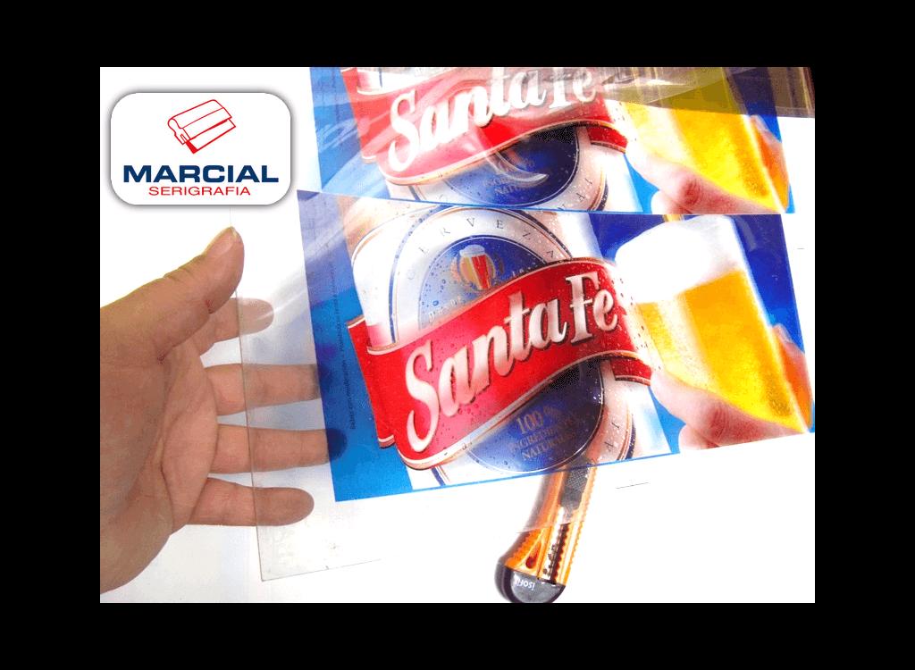 Serigrafía Backlight en material PET de la marca (Cerveza Santa Fe) impreso por Marcial Serigrafía a 4 colores Fotocromo.