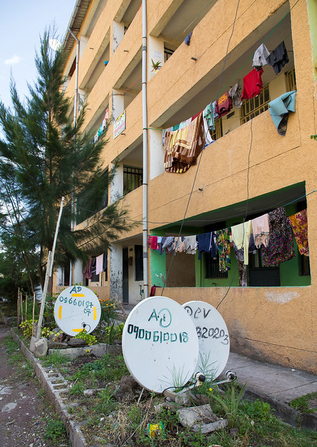 Popular and middle class new apartments blocks with satellite dishes, Addis Ababa Region, Addis Ababa, Ethiopia