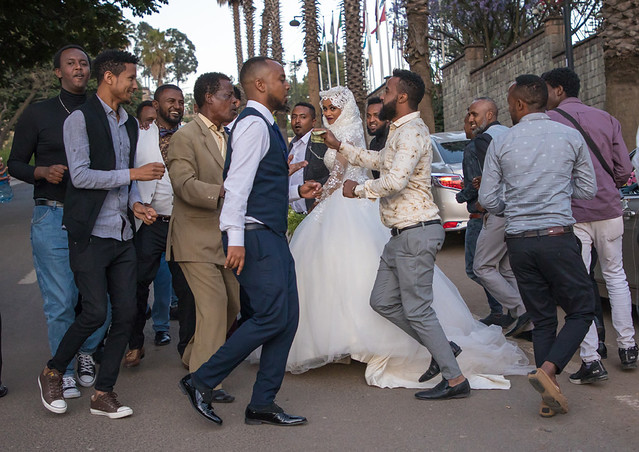 Muslim wedding celebration in the street, Addis Ababa Region, Addis Ababa, Ethiopia