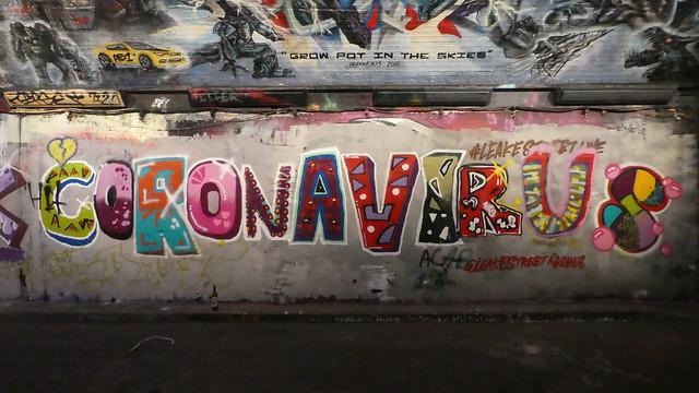 Coronavirus graffiti, Leake Street