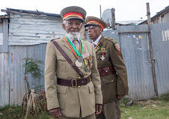 Ethiopian veterans from the italo-ethiopian war in army uniforms, Addis Ababa Region, Addis Ababa, Ethiopia