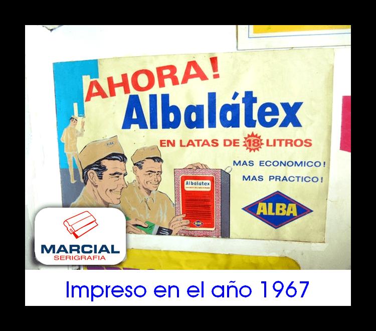 """Serigrafía sobre papel, realizado en el año 1967 para la empresa de pinturas Alba y su producto """"Albalátex"""". Impreso por Marcial Serigrafia."""