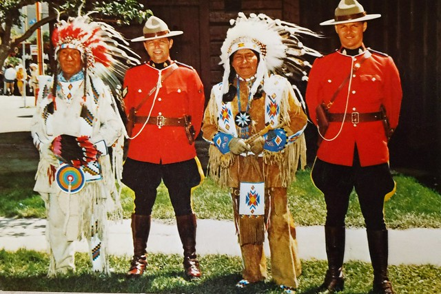 Police - RCMP - retro - officers with First nation chiefs at Calgary Exhibition and Stampede
