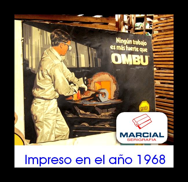 """Afiche impreso en serigrafía para la empresa Grafa y su ropa de trabajo """"Ombu"""" realizado en el año 1968. Impreso por Marcial Serigrafía."""