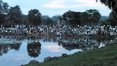Early birds up to see the sunrise at Angkor Wat, Cambodia