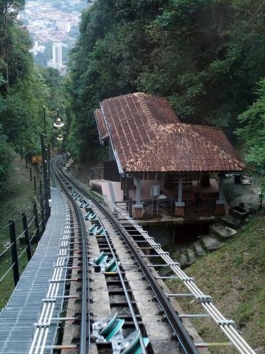 Shot looking at the Funicular train going down the tracks at Penang, Malaysia
