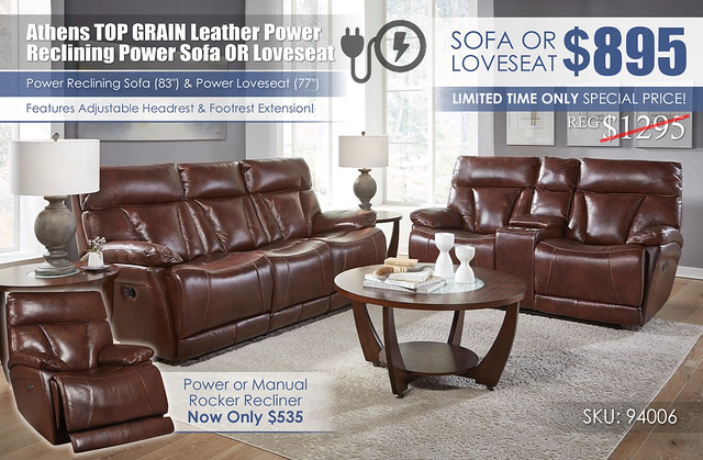 Athens Walnut Power Reclining Set_94006_Clearance Special