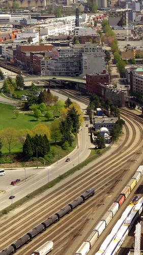 Railroad yard near Vancouver's port, Canada