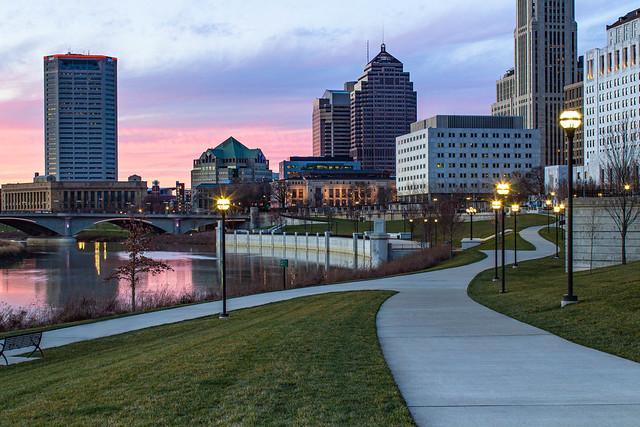 Sunset in Columbus, Ohio. March 13, 2020