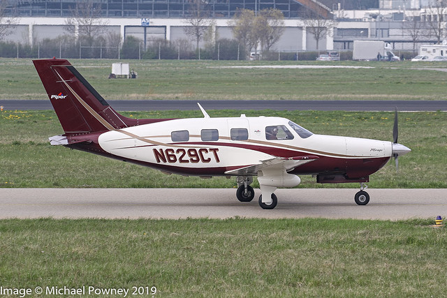 N629CT - 2012 build Piper PA-46-350P Malibu Mirage, taxiing for departure on Runway 24 at Friedrichshafen during Aero 2019